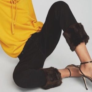Zara NWT Vintage High Rise Faux Fur Jeans